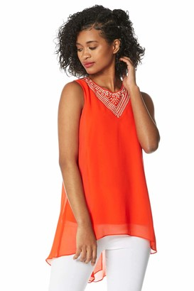 Roman Originals Women Embellished Chiffon Vest Top - Ladies Spring Summer Causal Cruise Beach Round Neck Sleeveless Dipped Hem Back Detail Holiday Tops - Orange - Size 12