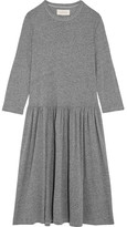 The Great The Long Sleeve Oversized Distressed Stretch-jersey Dress - Dark gray