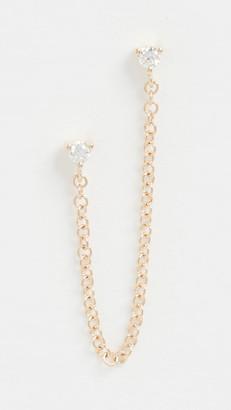 Ef Collection 14k Single Double Diamond Chain Stud