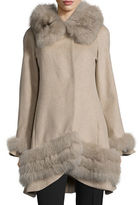 Belle Fare Cashmere Swing Coat with Fur Cuffs & Trim