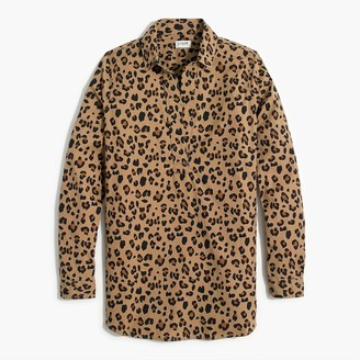 J.Crew Leopard high-low popover tunic top