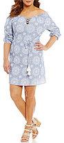 Blu Pepper Plus Off-The-Shoulder Lattice Striped/Medallion Woven Dress