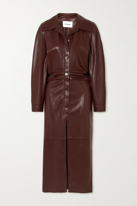Nanushka Sami Ruched Vegan Stretch-leather Shirt Dress - Brown