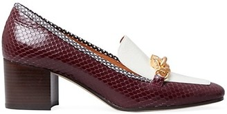 Tory Burch Jessa Block-Heel Croc-Embossed Leather Loafers