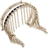 Maria Francesca Pepe Silver Plated Cuff With Spikes & Encrusted Swarovski