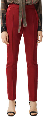 Burberry Jacinda Wool Trousers with Mulberry Silk Trim