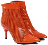 BASIC EDITIONS Women's Zipper Patent Leather High Heel Perforated Ankle Booties