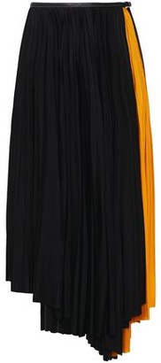 Proenza Schouler Faux Leather-trimmed Pleated Two-tone Midi Wrap Skirt