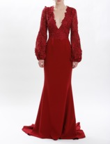 J. Mendel Cherry Guipure Lace And Silk Crepe V-Neck Trumpet Gown