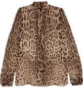 Dolce & Gabbana Pussy-bow Leopard-print Silk-chiffon Blouse - Leopard print