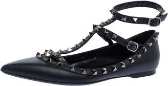 Valentino Black Leather Rockstud Ankle Strap Ballet Flats Size 39