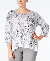 Alfred Dunner Plus Size Uptown Girl Collection Printed Embellished Top