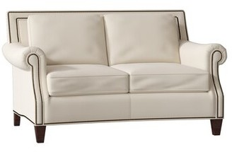"Bradington-Young Bates Genuine Leather 64"" Rolled Arm Loveseat Body Fabric: Milestone White, Leg Color: Mahogany, Nailhead Detail: French Natural 7/16"