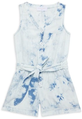 Bella Dahl Little Girl's & Girl's Cloud Wash Denim Tie-Dye Romper
