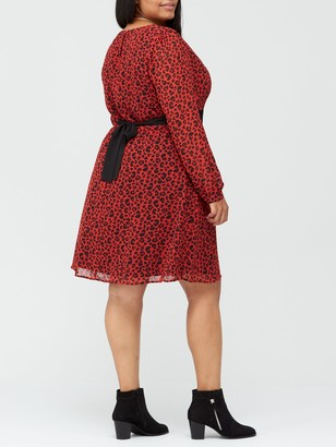 V By Very Curve Lace Insert Tea Dress - Red