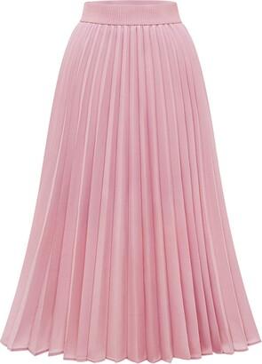 DRESS TELLS Women's Casual Chiffon Pleated Elastic Waist Maxi Long Summer Boho Skirt Blush M