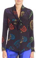 Moschino Shoe Print Silk Blouse