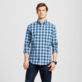 Merona Men's Long Sleeve Button Down Shirt Blue Check