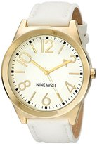 Nine West Women's NW/1660WTWT Gold-Tone and White Strap Watch