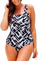 Passionate Adventure Women's Plus Size Pro Athletic One Piece Swimsuits Backless Swimwear Bathing Suit