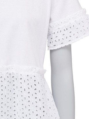 Very Broderie Mix Tee - White