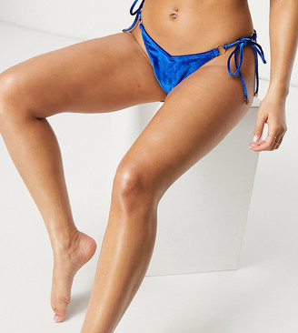 South Beach mix and match string with ring detail bikini bottom in cobalt blue velvet