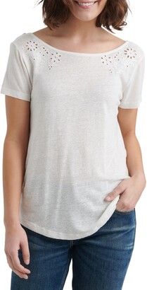 Lucky Brand Eyelet Scoop Back Linen Blend Top