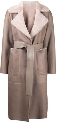 Blancha Shearling Lined Belted Coat