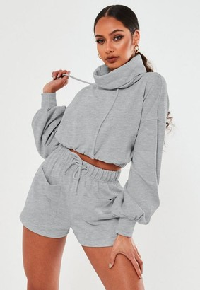 Missguided Gray Co Ord Cowl Neck Cropped Sweatshirt