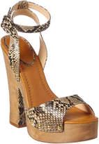 Alexandre Birman Zoee Snakeskin Leather Platform Sandal