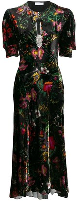 Paco Rabanne Floral Velvet Dress