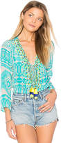 Rococo Sand Blouse in Turquoise. - size L (also in M,S,XS)