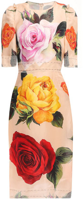 Dolce & Gabbana Tulle-trimmed Floral-print Silk-blend Midi Dress