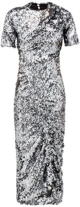 Preen by Thornton Bregazzi Sophia Sequinned Ruched-front Midi Dress - Womens - Dark Grey