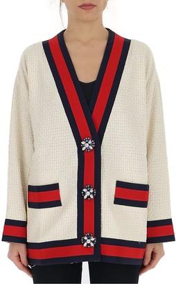 Gucci Striped Trim Oversize Tweed Cardigan