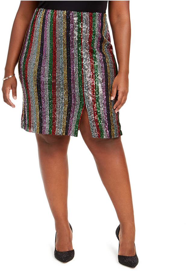 Inc International Concepts Inc Plus Size Sequinned Striped Midi Skirt, Created For Macy's