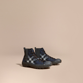 Burberry Check Technical Wool And Vulcanised Rubber Boots , Size: 41, Blue