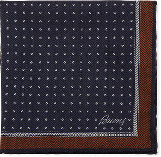 Brioni Men's Chevron Dots Silk Pocket Square