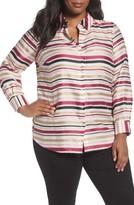 Foxcroft Plus Size Women's Satin Stripe Shirt