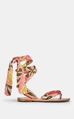 Christian Louboutin Women's Spetsos Satin Ankle-Wrap Sandals - Version Jupon