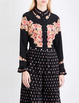Vilshenko Ladies Black Floral Button fastening Kalisa Floral-Print Silk-Crepe Shirt