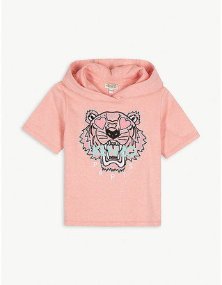 Kenzo Heart tiger logo cotton-blend hooded top 4-14 years