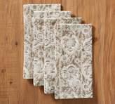 Pottery Barn Block Print Napkin, Set of 4 - Grey Floral
