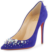 Christian Louboutin Candidate Pearly-Embellished Suede Red Sole Pump, Purple Pop