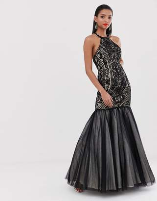 Jovani fishtail maxi dress with embellished detail-Black