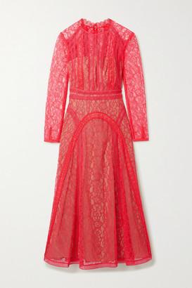 Self-Portrait Crochet-trimmed Paneled Corded Lace Midi Dress - Pink