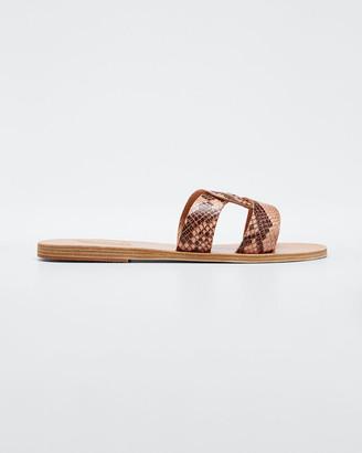 Ancient Greek Sandals Desmos Vachetta Interlocking Flat Slide Sandals