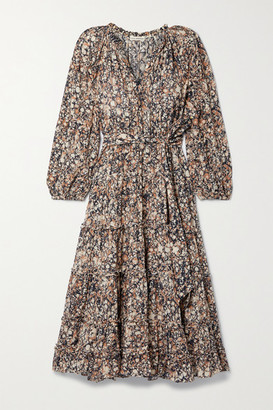 Ulla Johnson Anzu Tiered Printed Cotton-blend Voile Midi Dress - Brown
