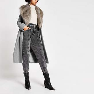 River Island Womens Grey faux fur collar longline coat