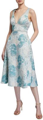 Aidan Mattox Sleeveless Floral Jacquard Fit-&-Flare Dress